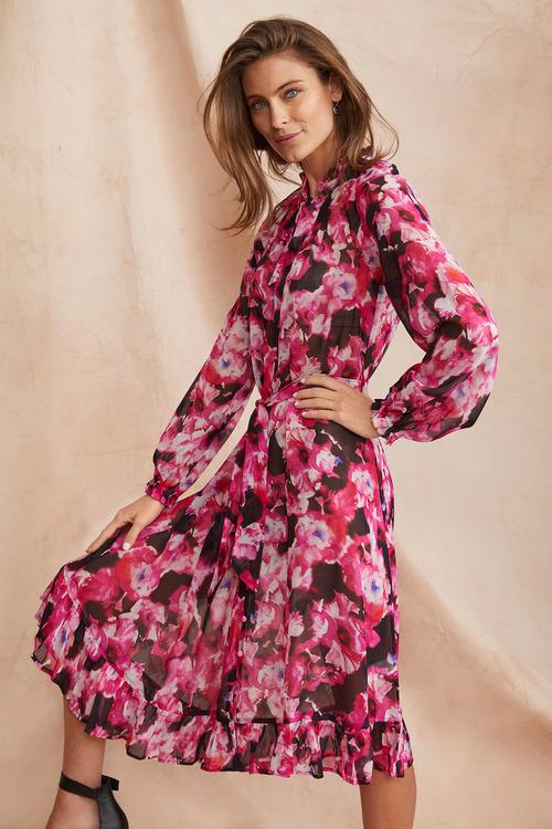 Simply You Silk Ruffle Detail Midi Dress
