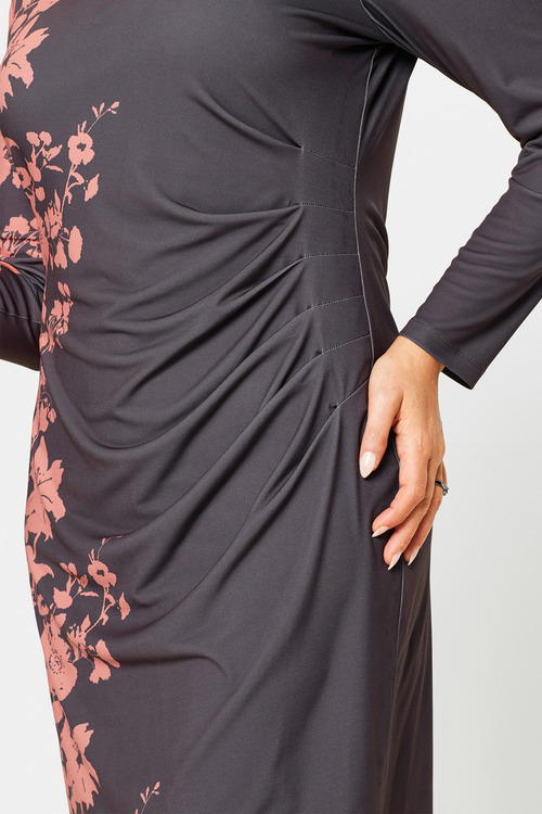 Euro Edit Fitted Dress with Floral Print