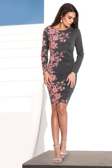 Euro Edit Fitted Dress with Floral Print - 248883