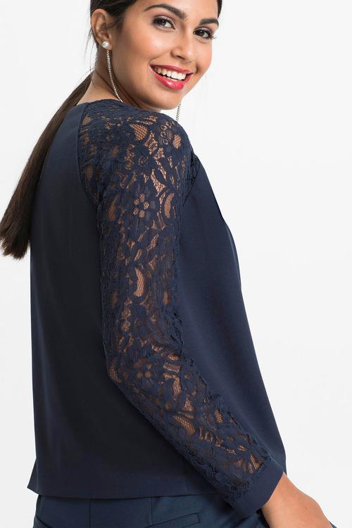 Euro Edit Lace Sleeve Blazer