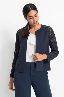 Euro Edit Lace Sleeve Blazer - 248889