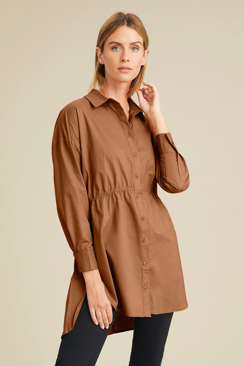 Capture Tie Waist Longline Shirt