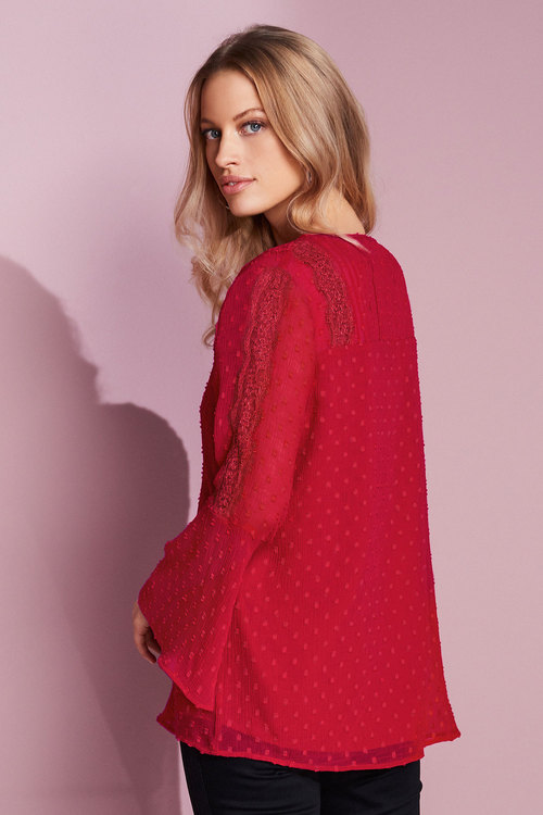 European Collection Lace Trim Dobby Top