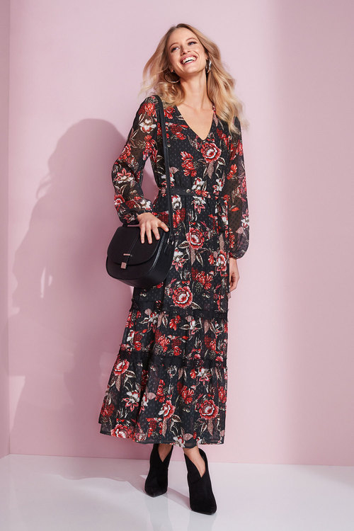 European Collection Floral Print Dobby Dress