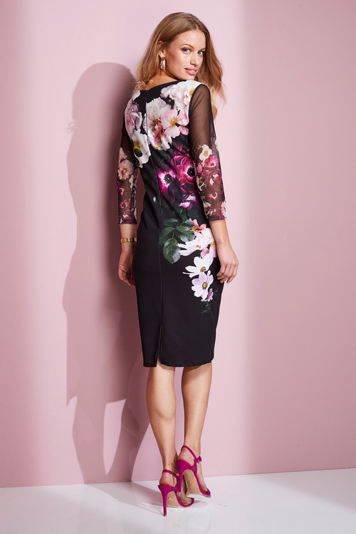 European Collection Floral Print Shift Dress