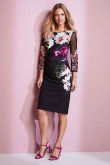 European Collection Floral Print Shift Dress - 248937