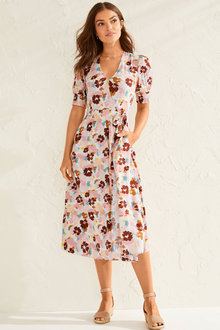 Capture Mock Wrap Midi Dress - 248947