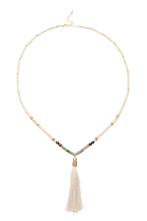 Amber Rose Semi Precious Tassel Necklace