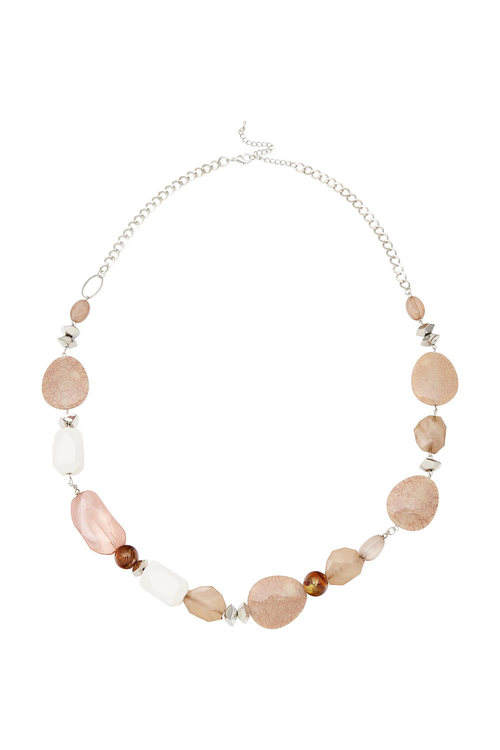 Amber Rose Crackle Resin Rope Necklace