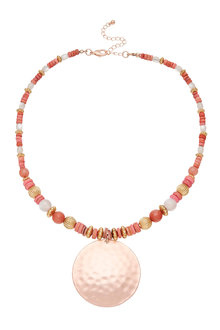 Amber Rose Moon Shadow Disc Necklace