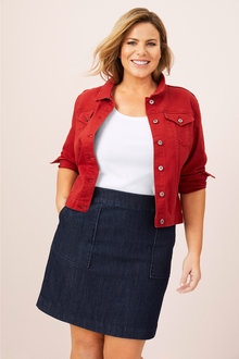 Plus Size - Sara Denim Patch Pocket Skirt - 248986