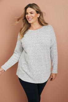 Plus Size - Sara Animal Knit Top