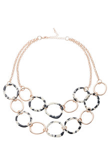 Amber Rose Double Strand Multi Resin Necklace - 249007