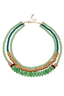 Amber Rose Mixed Materials Statement Necklace