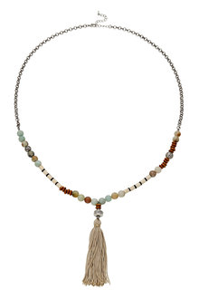 Amber Rose Multi Bead Tassel Necklace - 249015
