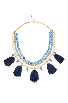 Amber Rose Capri Natural Stone Tassel Statement Necklace - 249019