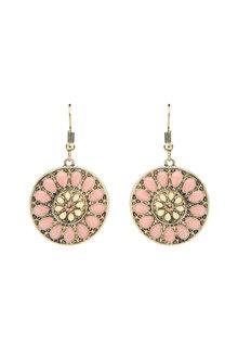 Amber Rose Enamel Floral Disc Earrings