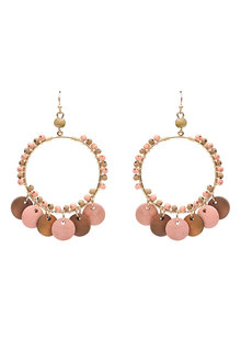 Amber Rose Wood Disc Hoop Earrings