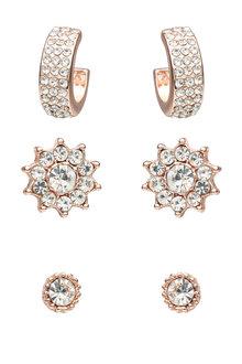 Amber Rose Crystal earring Set - 249046