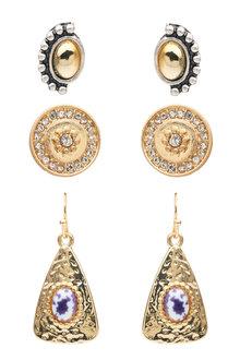 Amber Rose Gemstone Multi Earring Set