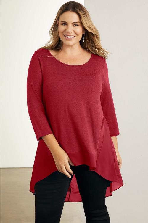 Plus Size - Sara Chiffon Hem Top