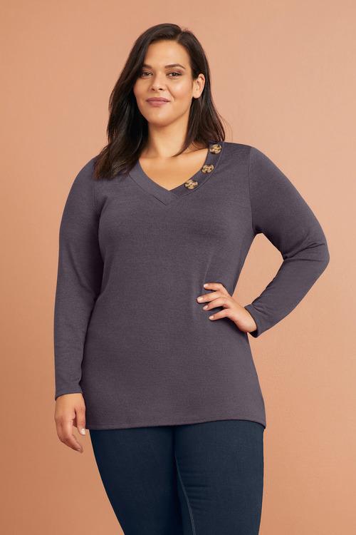 Sara Long Sleeve V Button Tee