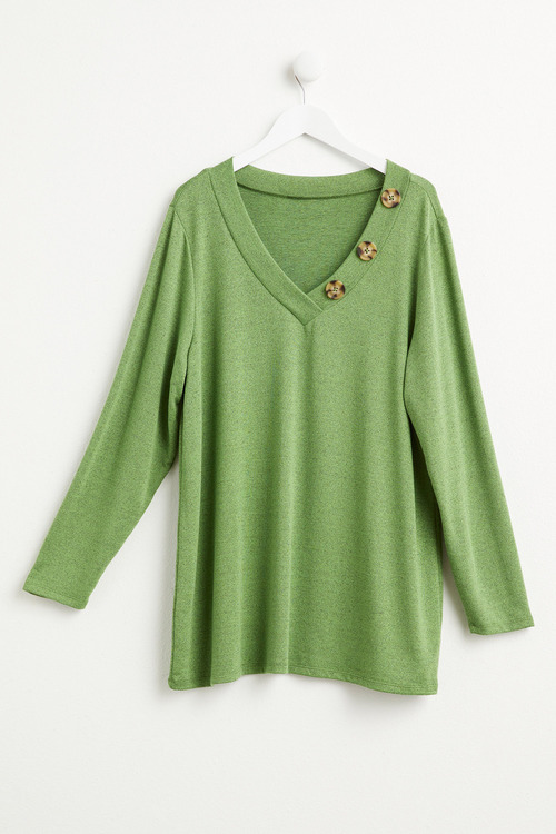 Plus Size - Sara Long Sleeve V Button Tee
