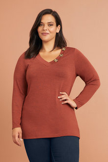 Sara Long Sleeve V Button Tee - 249067