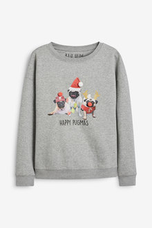 Next Women's Matching Family Pugmas Sweatshirt