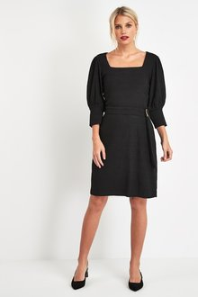 Next Puff Sleeve Belted Dress