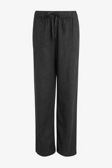 Next Linen Blend Wide Leg Trousers-Petite