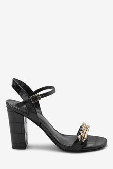 Next Chain Detail Block Heel Sandals