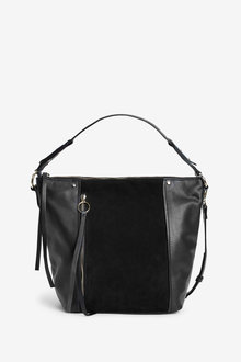 Next Zip Detail Leather Slouchy Hobo Bag