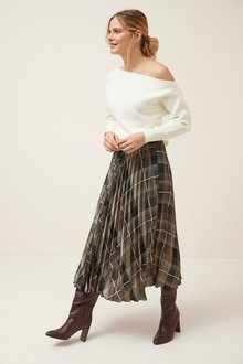 Next Check Pleat Skirt - 249410