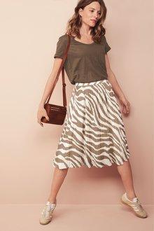 Next Animal Pleat Midi Skirt