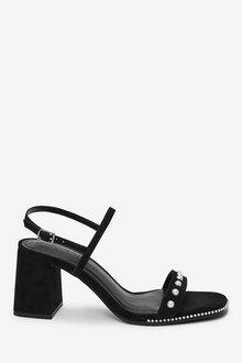 Next Pearl Detail Block Heel Sandals