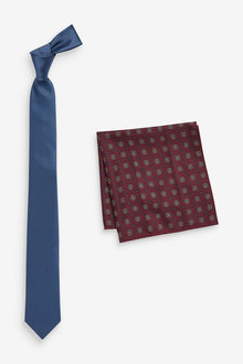 Next Tie With Burgundy Printed Pocket Square Set