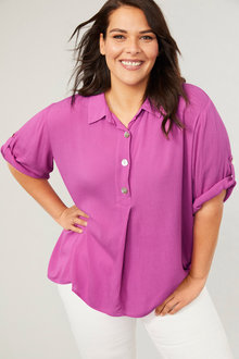 Sara Placket Button Shirt - 249573