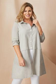 Plus Size - Sara Longline Linen Shirt - 249575