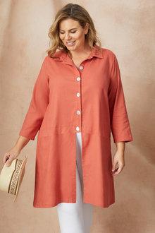 Sara Longline Linen Shirt - 249575