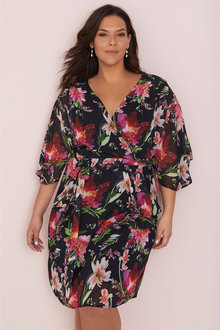 Plus Size - Sara Flute Sleeve Dress - 249584