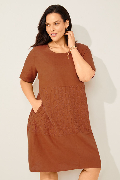 Sara Embroidered Linen Dress