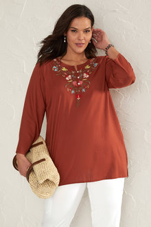 Sara V Neck Emb Top - 249726