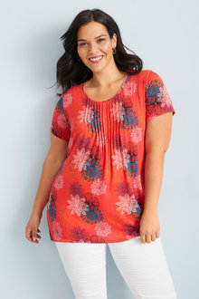 Plus Size - Sara Pleat Neck Tee - 249733