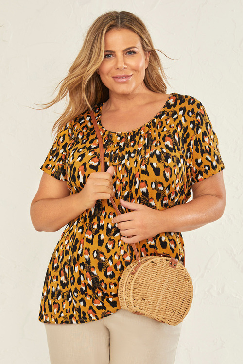 Plus Size - Sara Pleat Neck Tee