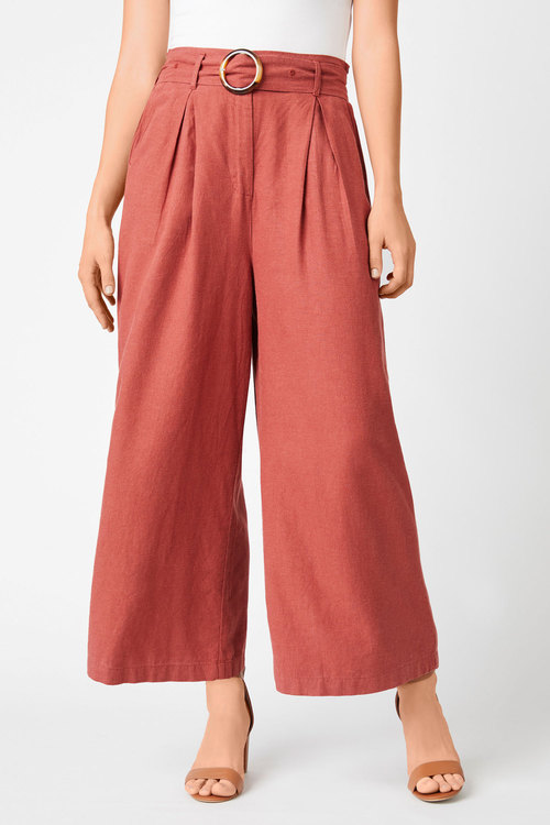 Emerge Buckle Belted Wide Leg Pant