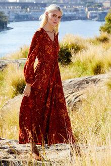 Emerge Boho Long Sleeve Maxi Dress - 249769