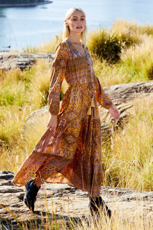 Emerge Boho Long Sleeve Maxi Dress - 249769