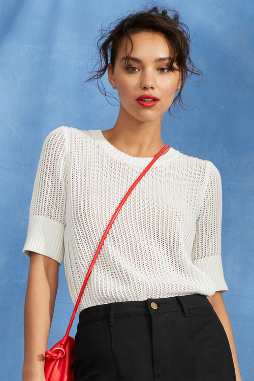 Emerge Textured Knit Short Sleeve Top