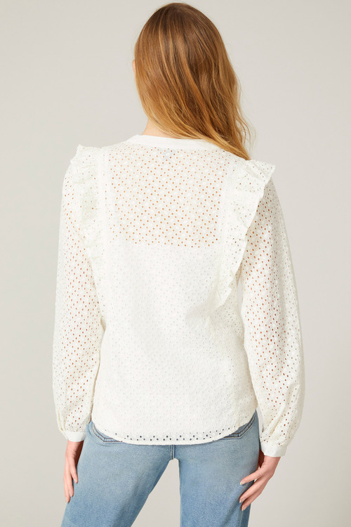 Emerge Broderie Ruffle Front Shirt